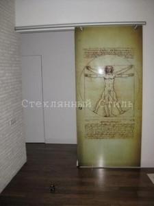 Стеклянная дверь с фотопечатью